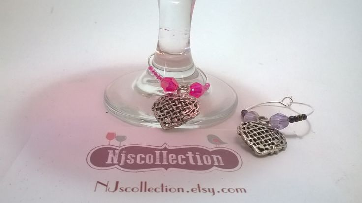 Wine Charm sets in hearts or star & moon - wine glass charms by NJscollection on Etsy