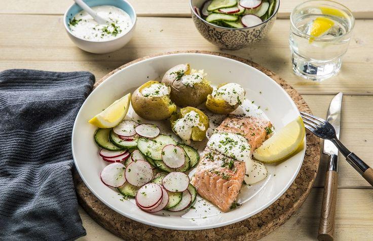Laks med agurksalat, potet og kesam | www.greteroede.no | Oppskrifter | www.greteroede.no