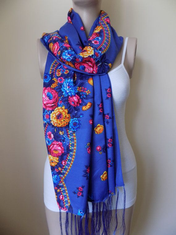 Russian scarf blue scarf floral scarf winter head by hedopart