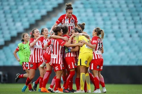 Melbourne City FC celebrate their 'three-peat' with another #WLeague championship after a 0-2 win with goals to Jessica Fishlock & Jodie Taylor. Congratulations to all involved. 19.02.18