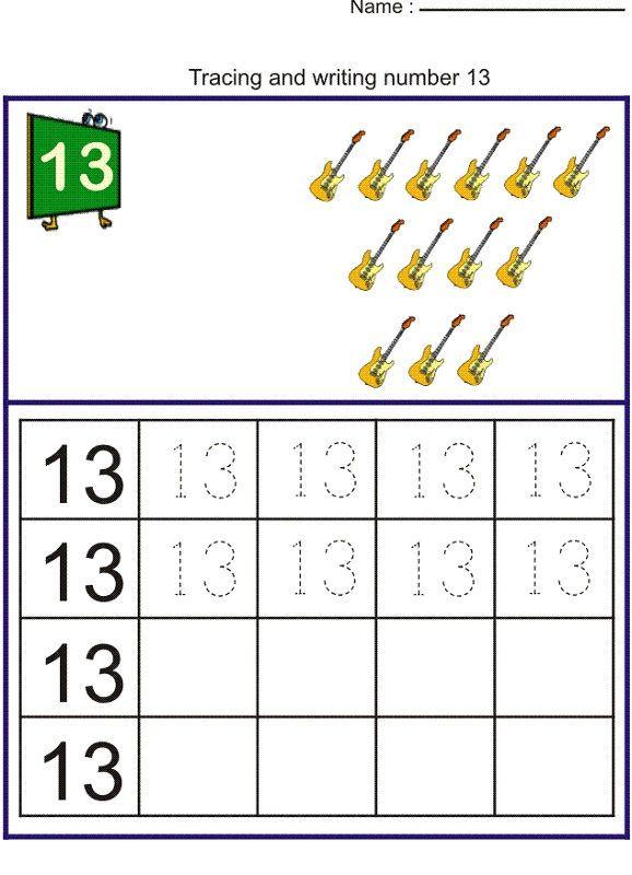 Number 13 Worksheet Kindergarten Kindergarten Worksheets Preschool Math Worksheets Writing Numbers Preschool worksheets number 13