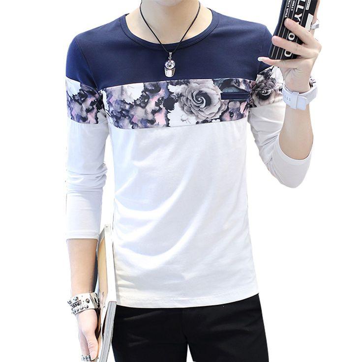 Aliexpress.com: Comprar 2017 Nueva moda casual patchwork camiseta de algodón a rayas geométrica larga manga larga camiseta o cuello de la Camiseta de impresión camiseta de los hombres 4XL 5XL de camisa de milán fiable proveedores en king--world international trade co.,LTD