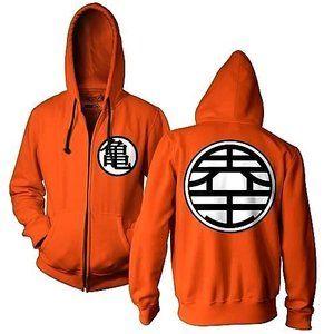 Dragon Ball Z Kame Symbol Orange Zip-Up Adult Hoodie Sweatshirt