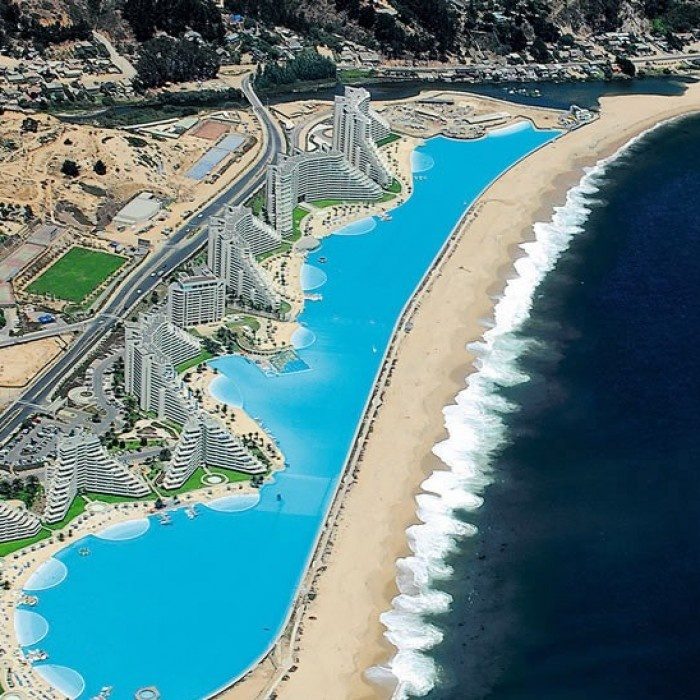 San Alfonso del Mar resort in Algarrobo, home to the billion-dollar swimming  pool, the world's largest at nearly 1km long.
