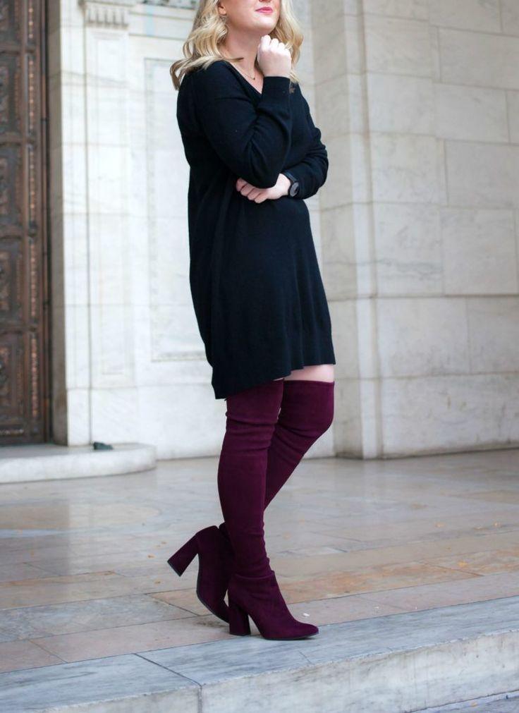 Stuart Weitzman Highstreet Boots and Everlane Sweater Dress on blogger Meghan Donovan