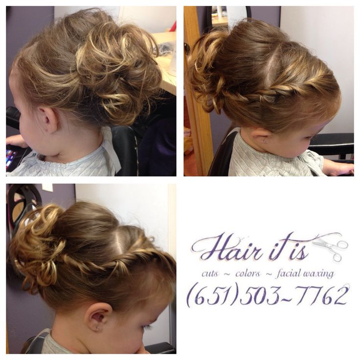 Side twist girls flower girl updo