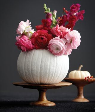 Fall-themed week Pumpkins centerpieces  pink and white autumn events weddings parties