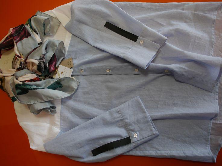 Curator Look: María Fernanda Hernández.  Shirt - Tela.  Scarf - Klements London.