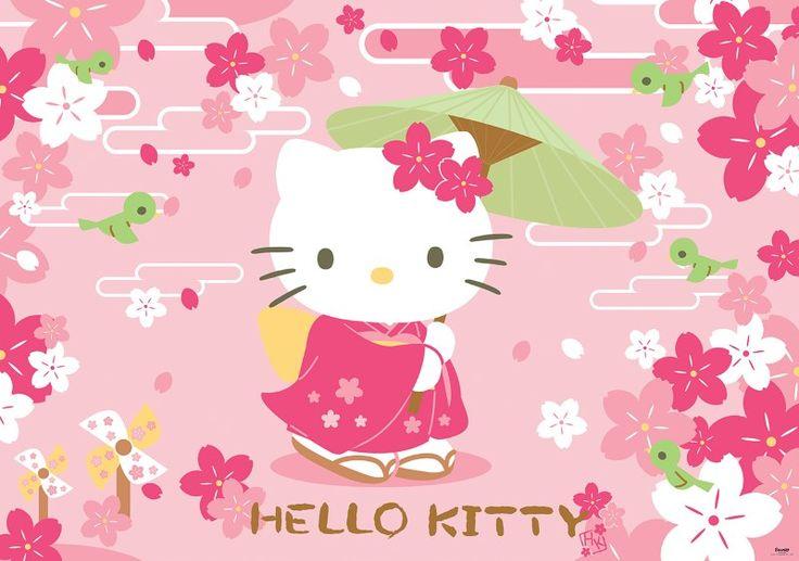 fototapet Hello Kitty geisha
