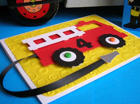 Fire Truck Birthday Invitation set of 8 von DianesPaperParty