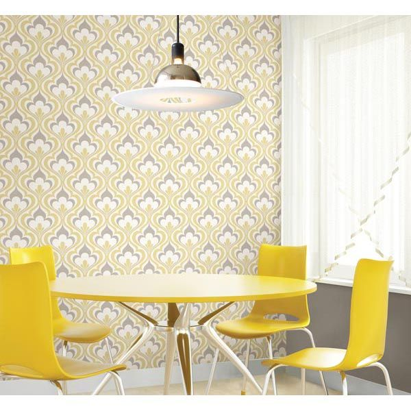 Lola yellow bargello waves modern damask wallpaper in a very contemporary yellow kitchen decor 2535-20601 Yellow Ogee Bargello - Lola - Simple Space 2 Wallpaper By Beacon House