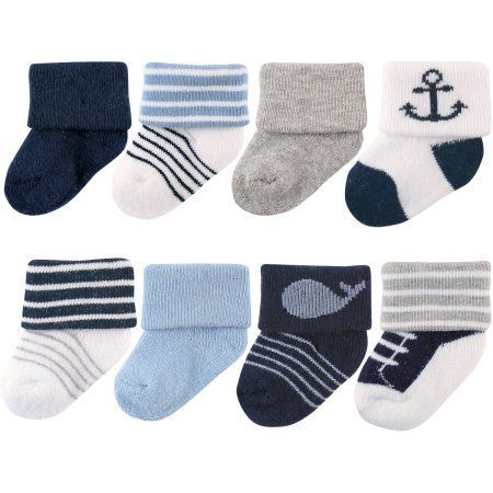 Luvable Friends Newborn Baby Boys Socks 8-Pack, Newborn Boy's, Size: 0 - 3 Months, Blue