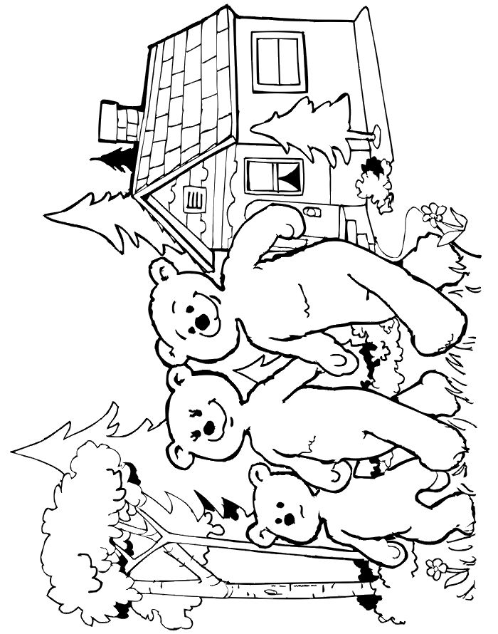 Goldilocks coloring page of the three bears leaving the cottage. More fairytale coloring pages.