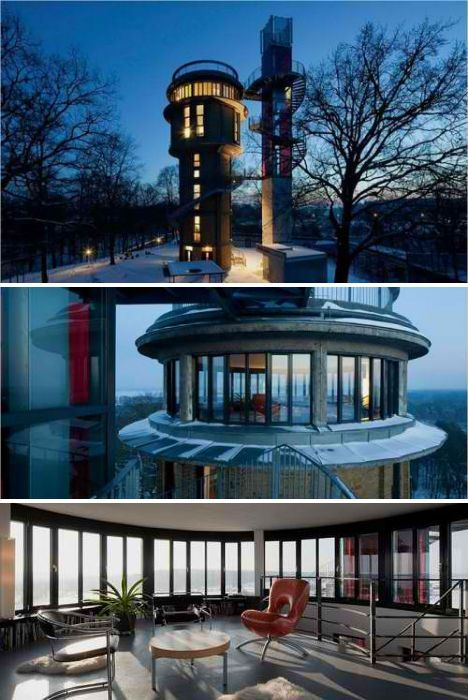 A pair of British designers turned a disused, 68-foot-tall industrial water tower in East Germany into a stunning residence. The design takes advantage of the adjacent nature reserve with 360-degree windows in what was once the tank.
