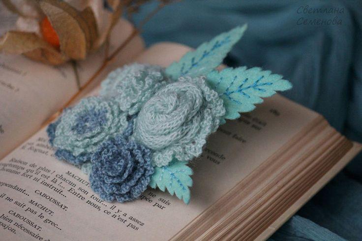 Купить Брошь Бирюзовые Сны - бирюзовый, голубой, брошь цветы цветок купить