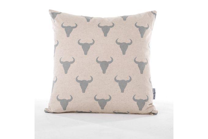 Gunmetal Cow Skull Scatter Cushion by ArtVraat Designs