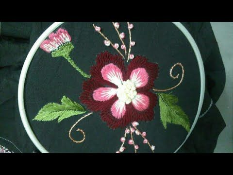 Hand embroidery flower with easy basic stitches