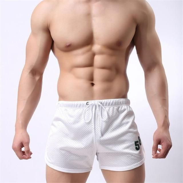 Fitness Shorts Male Elastic Sweatpants Quick Dry Summer Beach Shorts Boyshorts Solid Clothing 5 Colors Plus Size Xxxl white M