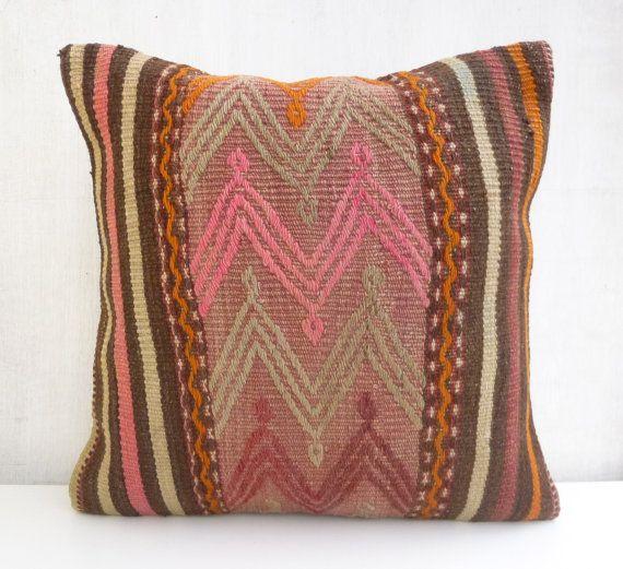 Throw pillow Ethnic Decorative Kilim Cushion cover Bohemian Wool Handwoven Euro Sham Turkish Pillow 40x40 Rustic Home Decor
