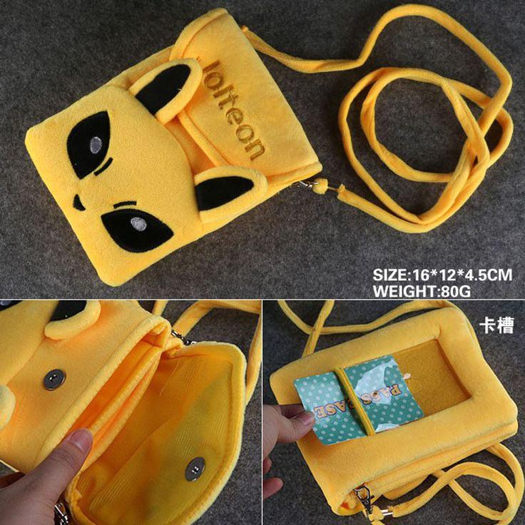 Anime/Cartoon Pikachu/Pocket Monster Jolteon Cell Phone Plush Pouch/Mini Crossbody/Shoulder Flap Bag/Coin Purse/Zero Wallet