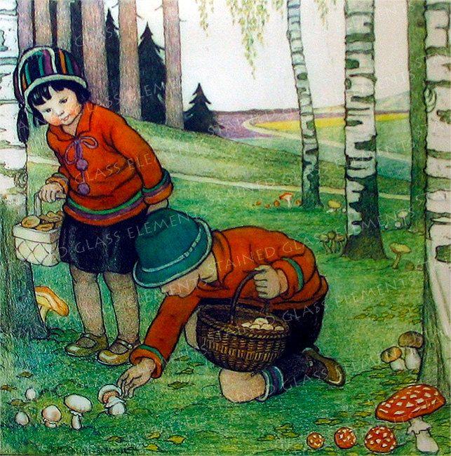 Ceramic decal children picking mushrooms Size 10 x 10cm (3.94 x 3.94 inch) Firing temperature: 760-850 ºC (1400-1562 ºF), ceramic transfer door StainedGlassElements op Etsy