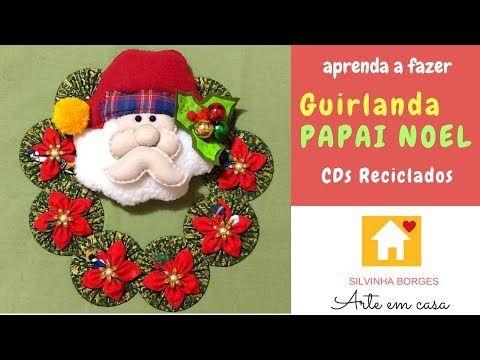 Como Reciclar CDs e Fazer Guirlandas com Flores de Tecido - YouTube