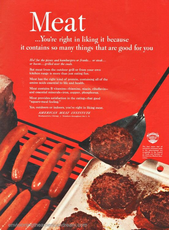 Vintage ad hot dogs and hamburgers on a grill