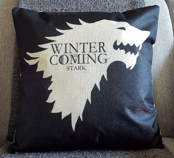GAME OF THRONES  STARK CUSHION,WINTER IS COMING 18 x18 ,Hollowfibre luxury Inner