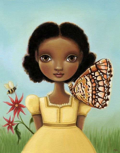 art print Girl butterfly honey bee print blue sky by marisolspoon, $30.00