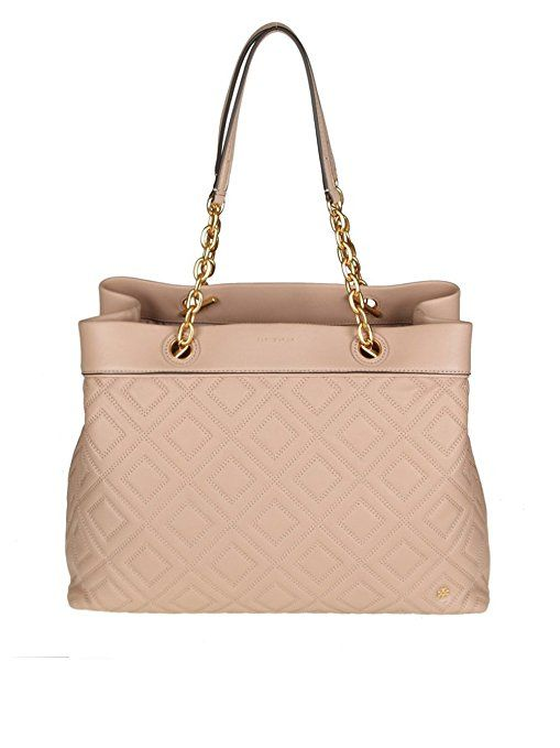 Tory Burch Women's #Blush #Pink Leather Tote #bag with gold chain and leather strap | #Fashion #SalmonBag #Style | #Ad