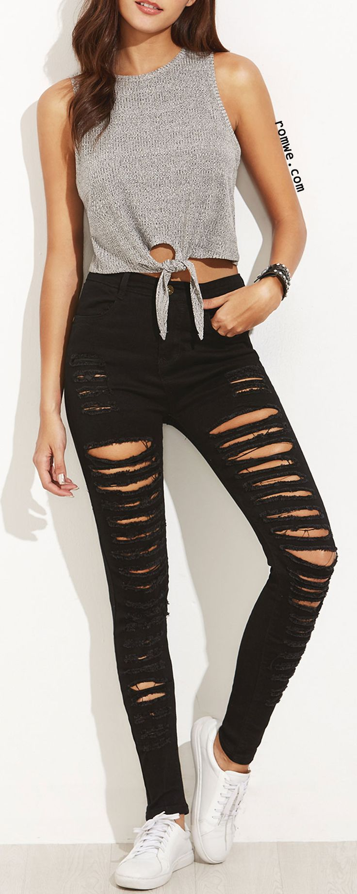 Love the top! (not really into the shredded jeans)
