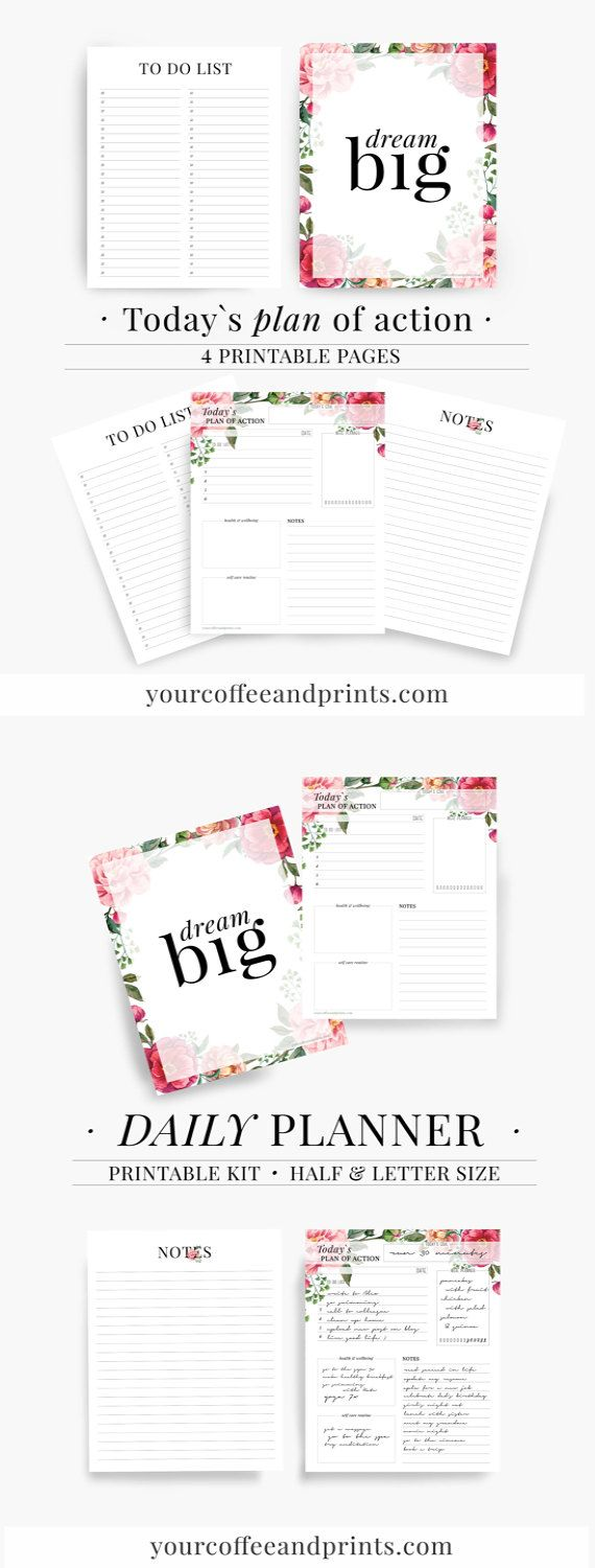 Daily Planner, To do list, Day organizer, 2017 daily planner, Printable Planner, Day Planner, student planner, Personal planner inserts,Plan