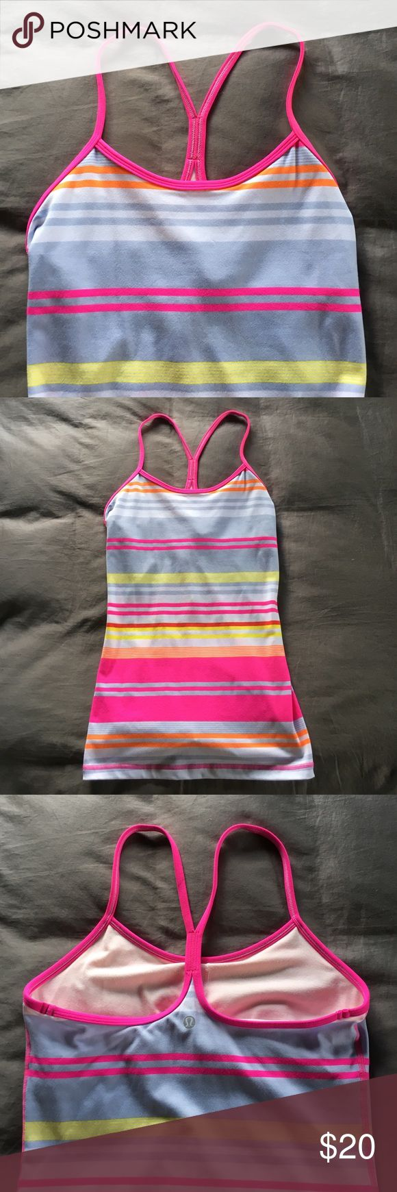 Lululemon Power Y Tank Lululemon Power Y Tank, used, but still in excellent condition! Removable bra cups (not included, but you can get them at any Lululemon store). Lululemon Athletica Tops Tank Tops