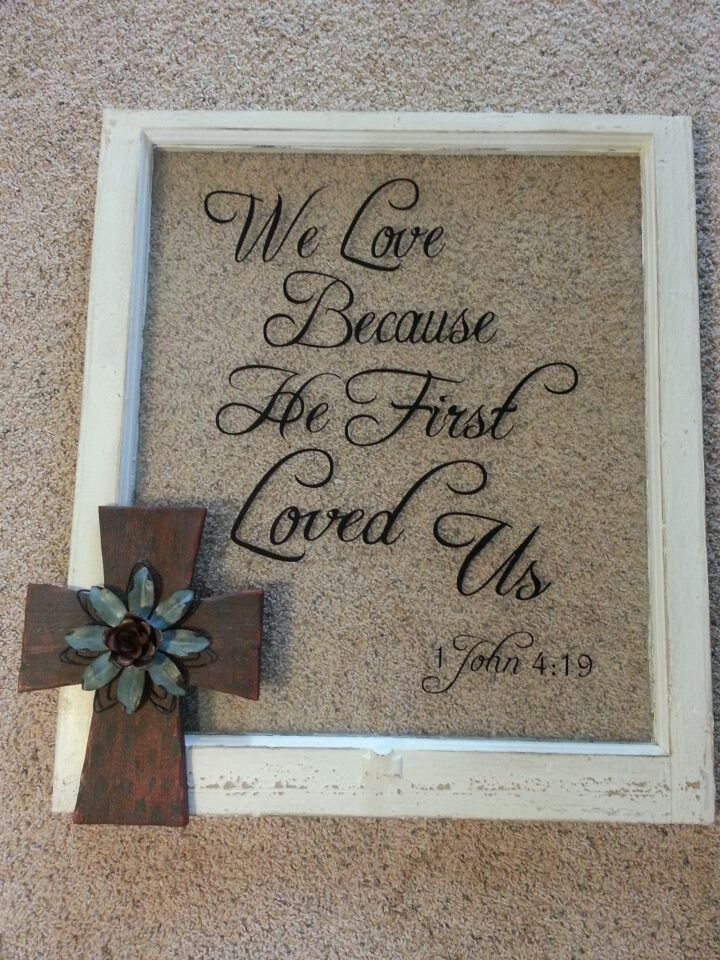 Recycled window pane with vinyl quote and metal cross for Window quoter