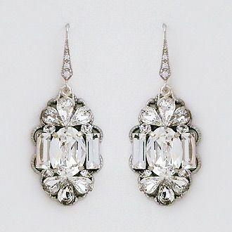 Cheryl King Couture bridal earrings. Statement crystal chandelier earrings that reflect the shapes and mood of Art Deco.