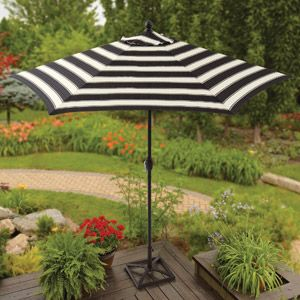 Better Homes and Gardens 9' Round Umbrella, Club Stripe at Walmart for $49!!