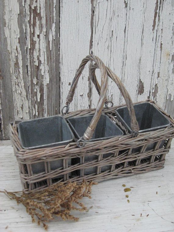 *vintage gray woven wicker basket  *three square galvanized pots  *{perfect} for herbs OR organizing desk top staples  *meaures 11 x 4 x 4 ~