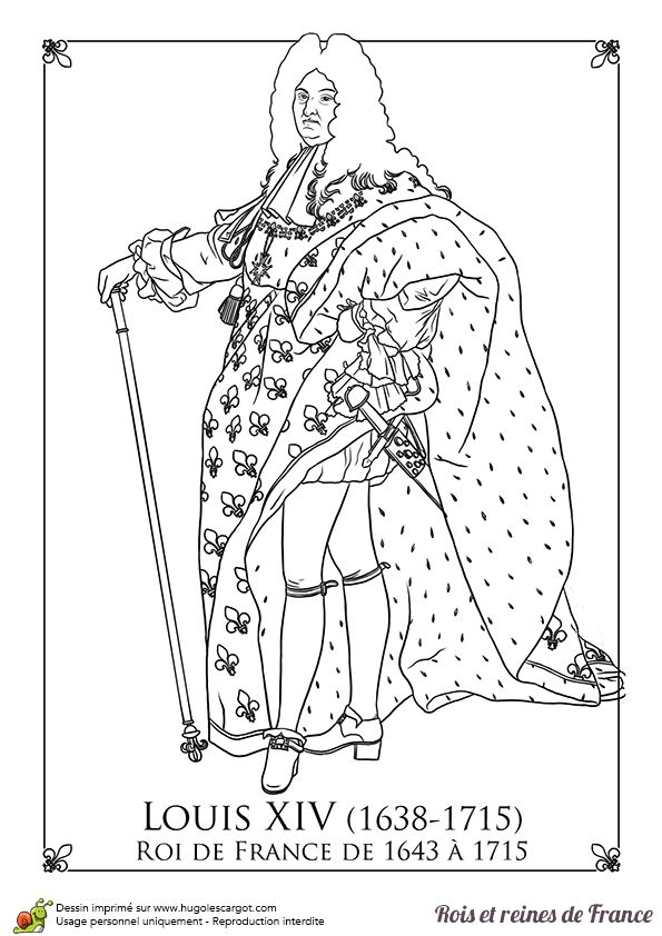 Louis XIV of France coloring page http://www.hugolescargot ...