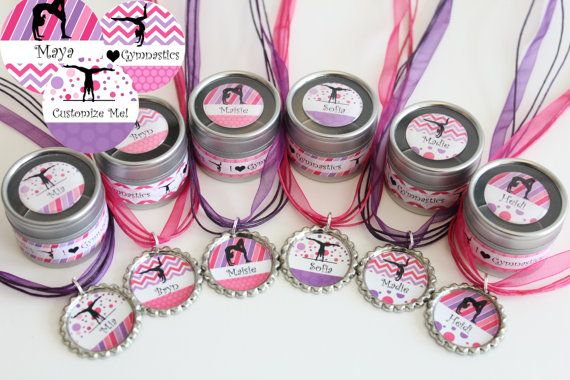 Gymnastics Party Favors - Favor Tin and Necklace Combo - Set of 6 - Free Personalization - Gymnastics Theme - Gymnastics Birthday Party