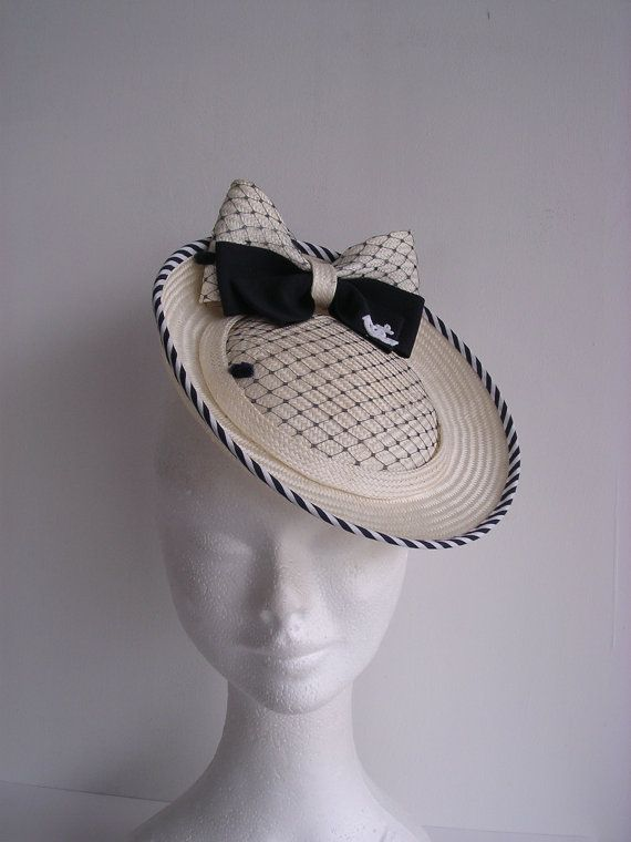 Natural straw  hat fascinator vintage style  nautical style 1930' 1940' 1950' on Etsy
