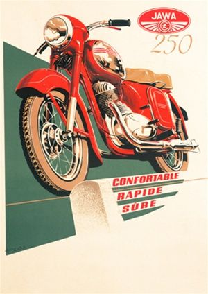 JAWA 250 1950 Czechoslovakia - Beautiful Vintage Poster Reproductions. This vertical French transportation poster features a red motorcycle on green and white background above the words confortable, rapide, sure. Giclee Advertising Print. Classic Posters
