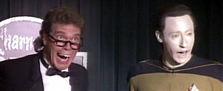 Joe Piscopo and Data do Jerry Lewis impressions on the Holodeck in Data's quest to understand humor in The Outrageous Okona, 1988.