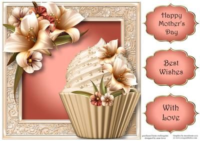 This lovely large square quick topper is approx 8x8 in size. It features a fabulous cupcake and is embellished with gorgeous ivory lilies. It has three greetings.     Also available as a mini kit.