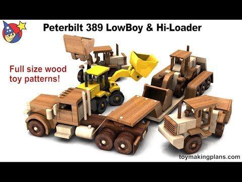 Wood Toy Plans - Peterbilt 389 LowBoy and Hi Loader - YouTube