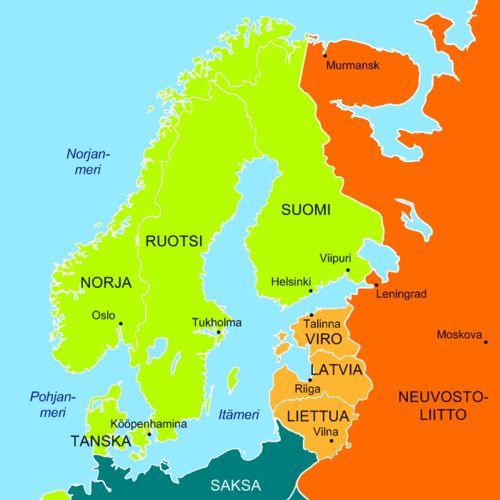 Pohjoinen Eurooppa marraskuussa 1939. Puolueettomat maat Saksa ja sen miehittämät maat Neuvostoliitto ja sen miehittämät maat Neuvostoliiton sotilastukikohtia