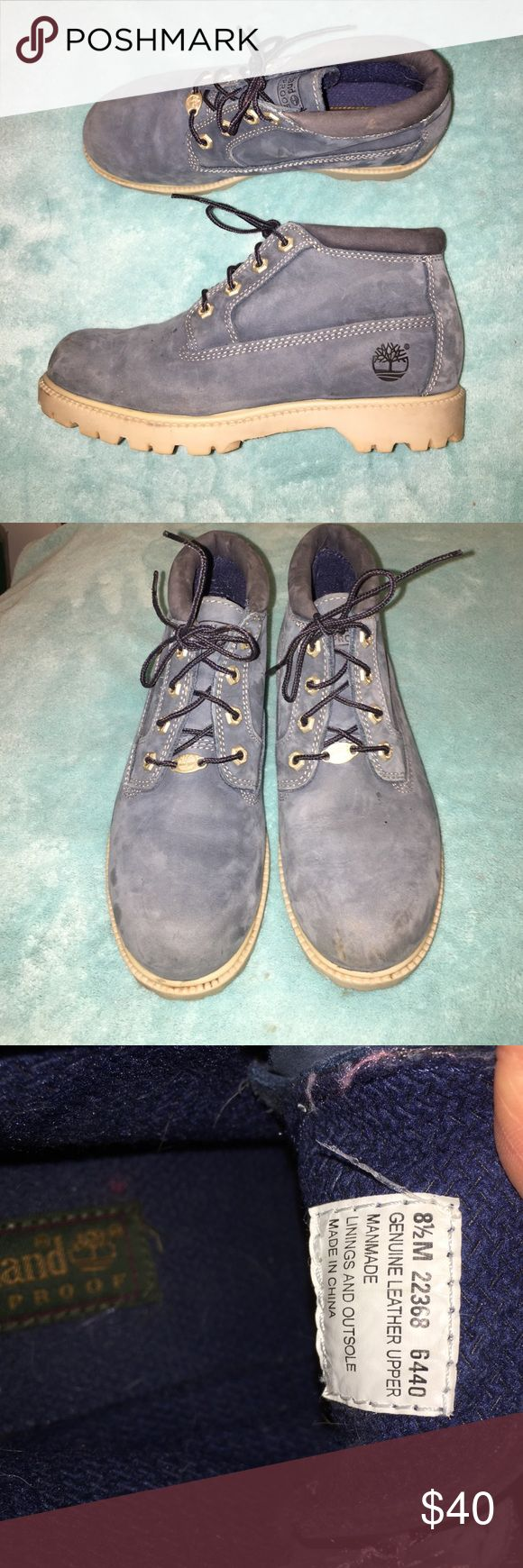 ONE HOUR SALE!!! Women's Blue Timberland Boots! I am selling these vintage Timberland Boots! They are a women's size 8 1/2! They have been warn but are still in great condition! They are a very unique blue color. The soles could use a tiny cleaning but that's all! Sadly I'm selling because I'm moving and could really use the extra money right now. Feel free to ask any questions!!! I try to ship same or next day!!! Timberland Shoes Ankle Boots & Booties