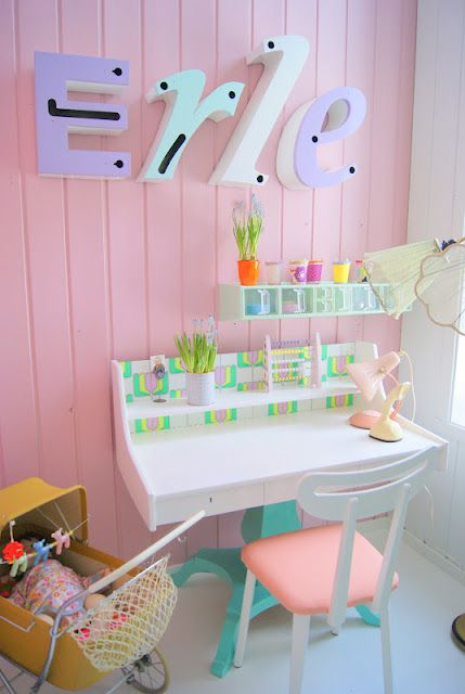 Pastel shades with little pops of neon is a perfect palette a teenage bedroom. It's fun, bright and definitely on trend. Don't go overkill though, keep it simple with white wooden furniture and plain fabrics.