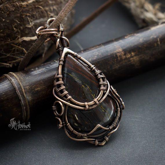 Wire wrap bronze pendant-Jespilite pendant-wire wrapped jewelry-handmade jewelry-bronze pendant-fantasy pendant-fantasy jewelry