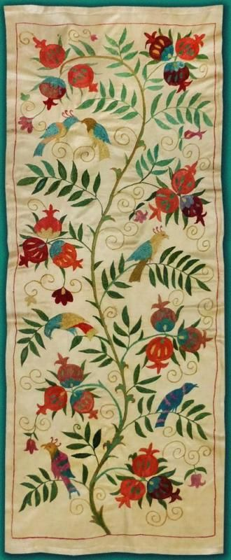 UZBEK SILK HANDMADE EMBROIDERED SUZANI TREE OF LIFE PATTERN BUKHARA T907