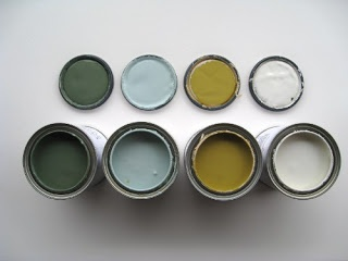 All Benjamin Moore paints: Sharkskin, fresh olive, battenburg, storm cloud gray and wythe blue.